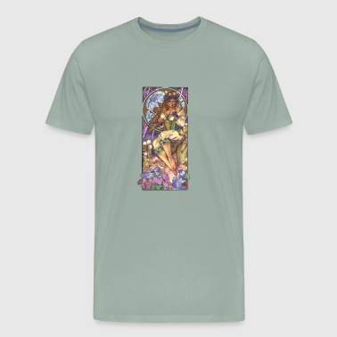 Art Nouveau Lady Of February With Violets - Men's Premium T-Shirt