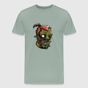 Monster Scary Orc Green Roses Vector painting Art - Men's Premium T-Shirt