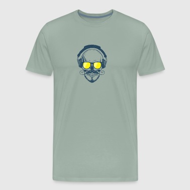 Skull design wearing glasses and headphones - Men's Premium T-Shirt