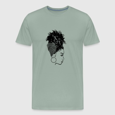 Black Woman With Turban Afro Puff Beauty Salon - Men's Premium T-Shirt
