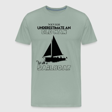 Underestimate An Old Man With A Sailboat Shirt - Men's Premium T-Shirt
