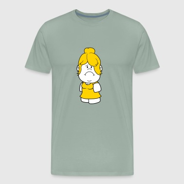 female pretty big head little woman girl face sad - Men's Premium T-Shirt