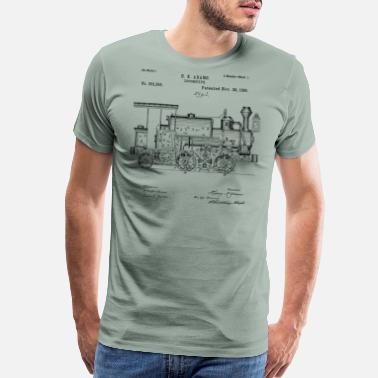 Train Vintage Patent Print 1886 Locomotive Steam Train - Men's Premium T-Shirt