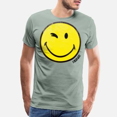 Sun Rays yellow wink smiley  i like you - Men's Premium T-Shirt
