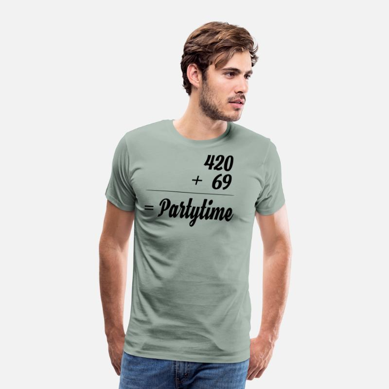 Weed T-Shirts - partytime - Men's Premium T-Shirt steel green