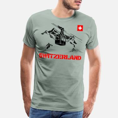 Confederate Switzerland with mountains and gondola and skier - Men's Premium T-Shirt