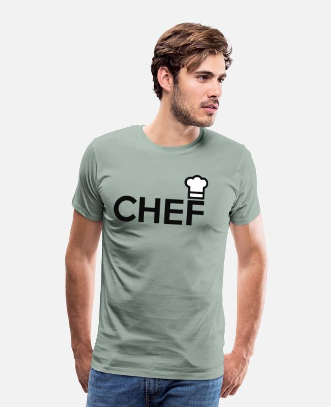 Restaurant T-Shirts - Chef - Men's Premium T-Shirt steel green