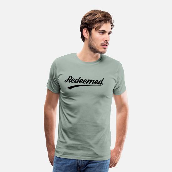 Christian T-Shirts - Redeemed, Christian, faith, Jesus, Love, Bible - Men's Premium T-Shirt steel green