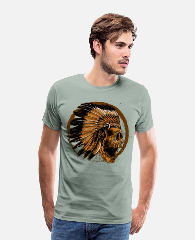 Native T-Shirts - american native Indian Skull - Men's Premium T-Shirt steel green