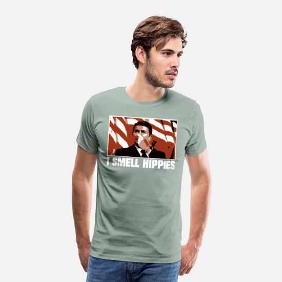 Hippie T-Shirts - Ronald Reagan I Smell Hippies Funny Shirt - Men's Premium T-Shirt steel green