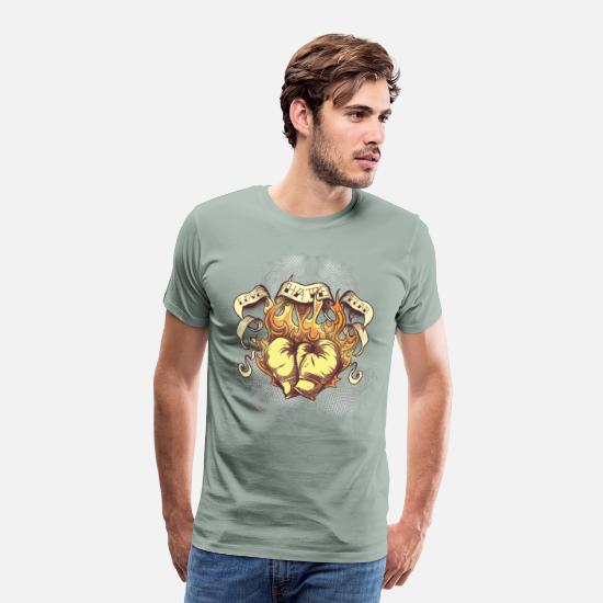 Love T-Shirts - Love Hate Fear - Men's Premium T-Shirt steel green