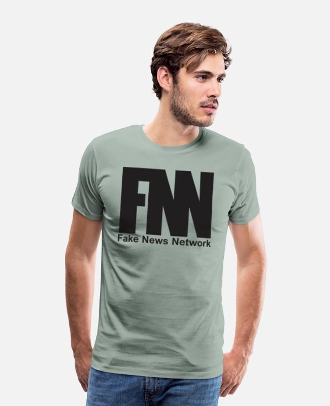 Hipster T-Shirts - Fake News Network - Men's Premium T-Shirt steel green