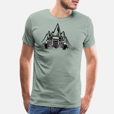 Rock Box Hotrod with mountains Custom Car Ami Car Car - Men's Premium T-Shirt