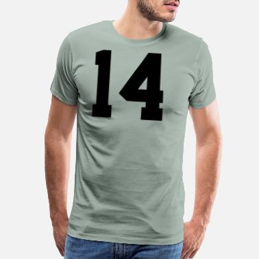 Football Jersey Number 14, Number, Sports, Jersey, Team, Varsity - Men's Premium T-Shirt