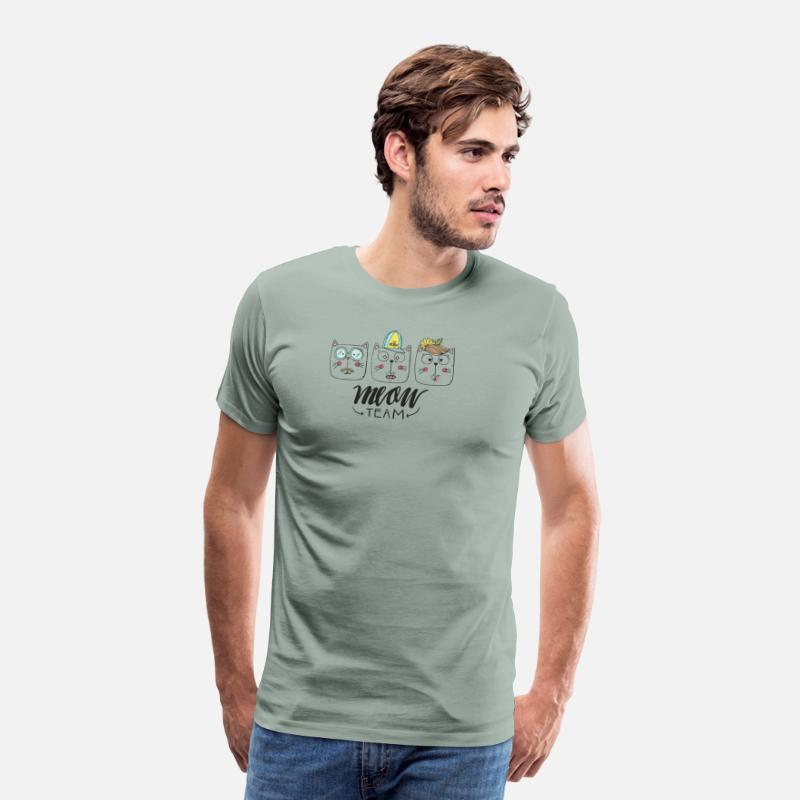 Funny Gym T-Shirts - Meow Team - Men's Premium T-Shirt steel green