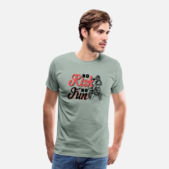 Motocross T-Shirts - Motocross No Risk No Fun - Men's Premium T-Shirt steel green