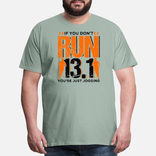 Runner Running Half Marathon Quotes Gift Men\'s Premium T ...