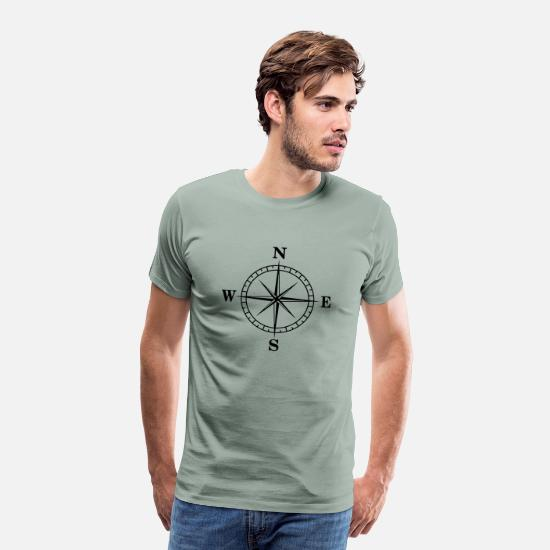 Compass T-Shirts - Compass, Orientation - Men's Premium T-Shirt steel green