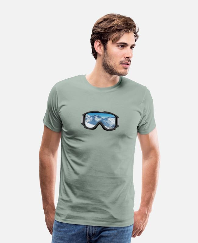 Ski T-Shirts - Goggles - Mountain View - Men's Premium T-Shirt steel green