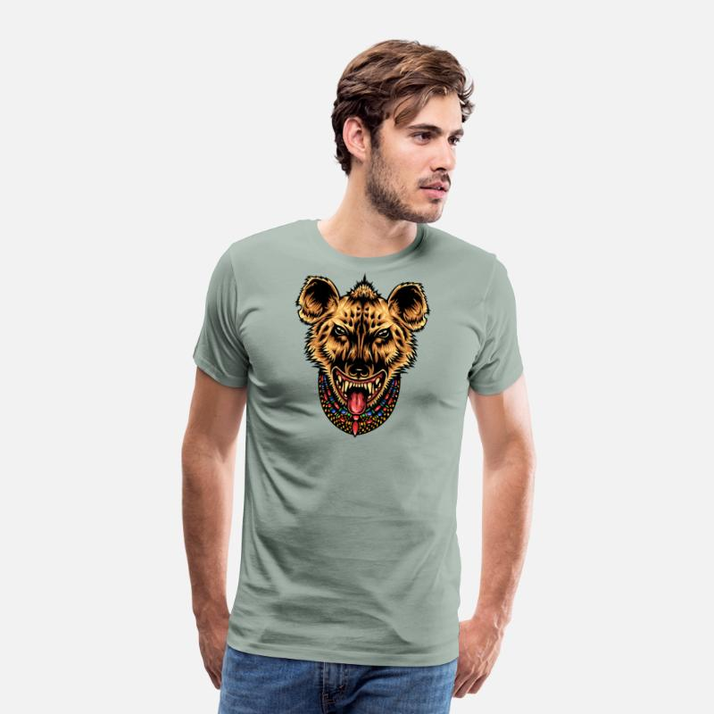 Symbol  T-Shirts - Hyena - Men's Premium T-Shirt steel green