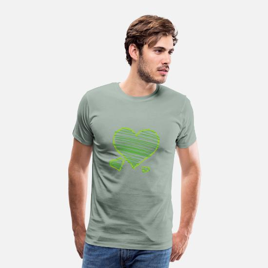 Heart T-Shirts - Heart - Men's Premium T-Shirt steel green