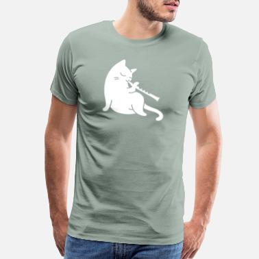 Playing Flute Flute - cat playing flute - Men's Premium T-Shirt