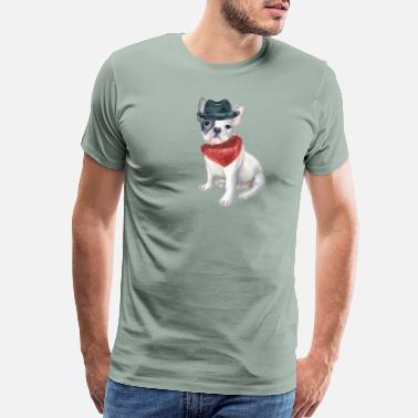 Piece Frenchie French Bulldog Gangster Hat Bandana Red Dogs In Clothes - Men's Premium T-Shirt