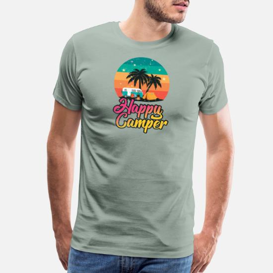 15dae9a8 Happy Camper - Retro Vintage Tent Van RV Men's Premium T-Shirt ...