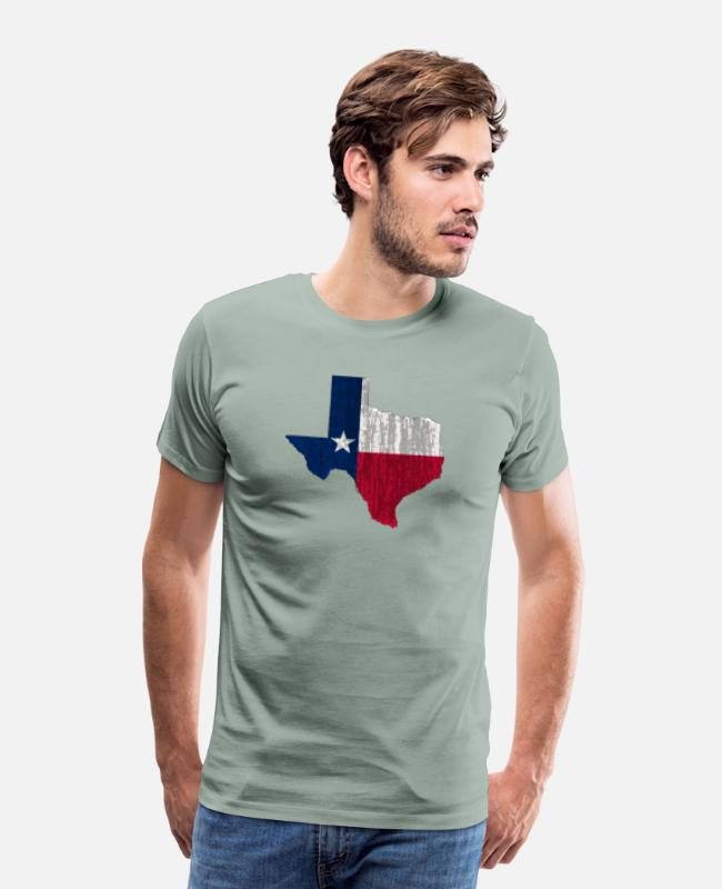 Texas Home T-Shirts - TEXAS LONE STAR STATE FLAG GRAPHIC - Men's Premium T-Shirt steel green