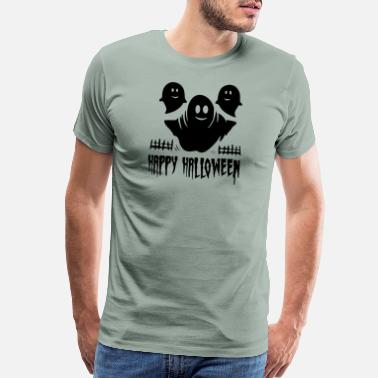 Is A Zombie Hunter three ghosts Happy Halloween black - Men's Premium T-Shirt