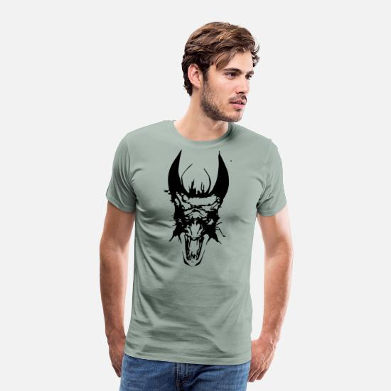Head T-Shirts - Dragon Head - Men's Premium T-Shirt steel green
