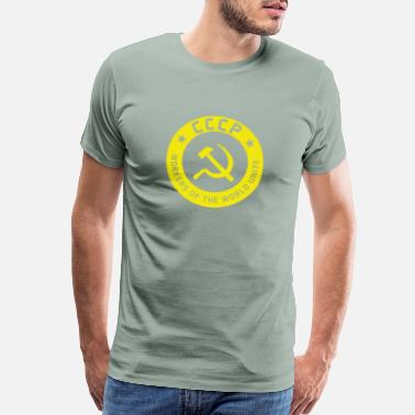 Union Laborer Communist Badge Motto - Men's Premium T-Shirt