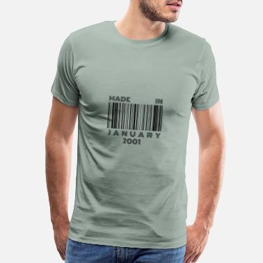 18th Birthday Made in January 2001 | 18th Birthday Gift Barcode - Men's Premium T-Shirt