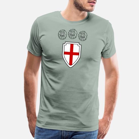 0bcc467d ENGLAND 3 Lions Shield Three Lions Soccer Shirt Men's Premium T ...