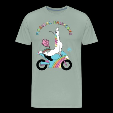 Magical Emissions Yoga Unicorn On Sportbike - Men's Premium T-Shirt