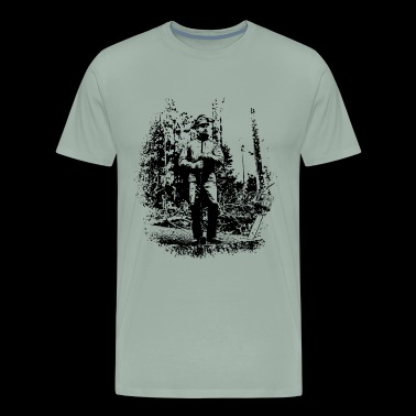 Forestry worker in timber harvest - Men's Premium T-Shirt
