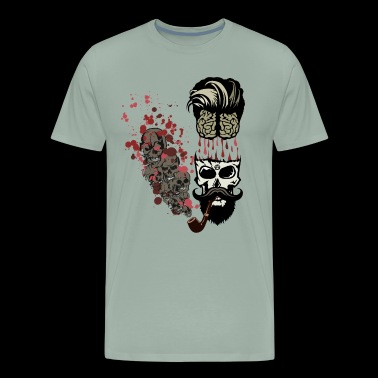 skull smoking pipe brain blood drop brain mustache - Men's Premium T-Shirt