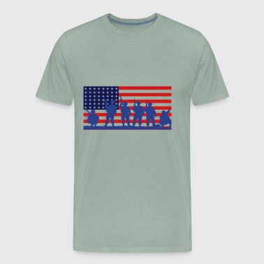 US Flag With Soldiers - Men's Premium T-Shirt