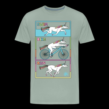 Swim Bike Run Unicorn Outline - Men's Premium T-Shirt