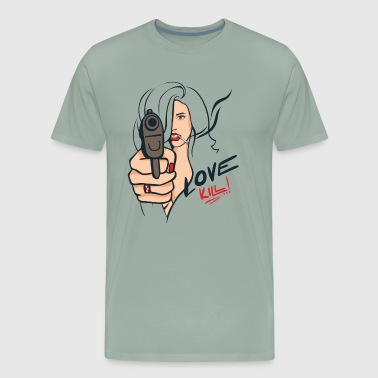 Sexy Woman with a Gun - Pop Art Illustration - Men's Premium T-Shirt