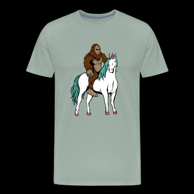 Bigfoot Riding Unicorn Sasquatch - Men's Premium T-Shirt