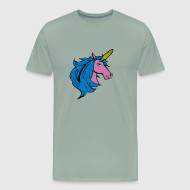 Punny Cartoon Unicorn on the Cob - Blue - Men's Premium T-Shirt