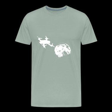 Racing drone flies to the bright moon - Men's Premium T-Shirt