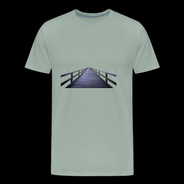 wood bridge holz bruecke architektur fluss - Men's Premium T-Shirt