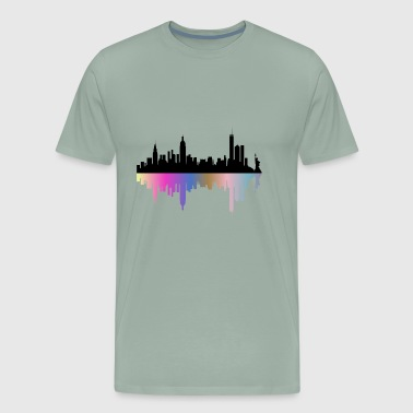 City Skyline Reflection - Men's Premium T-Shirt