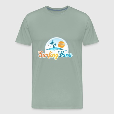 Beach Palms Surfing Wave - Men's Premium T-Shirt