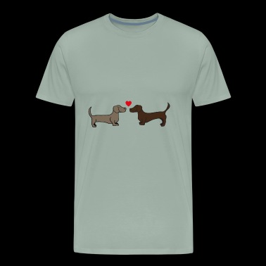 two sweet kissing dogs , dachshund , gift idea - Men's Premium T-Shirt