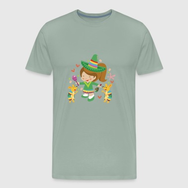Adorable Dancing Cinco de Mayo Girl with Armadillo - Men's Premium T-Shirt