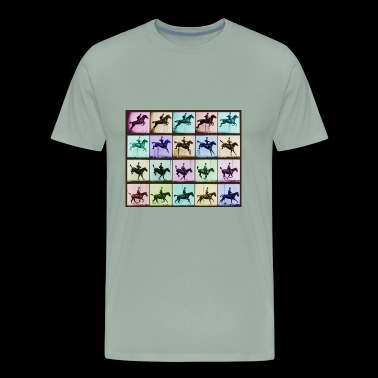 Time Lapse Motion Study Horse And Rider Color - Men's Premium T-Shirt