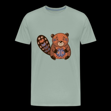 Beaver funny cartoon animal vector illustration - Men's Premium T-Shirt